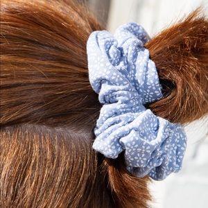 Brandy Melville Blue Floral Scrunchie